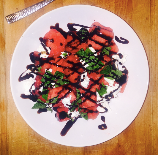 Watermelon Mint Goat Cheese Salad